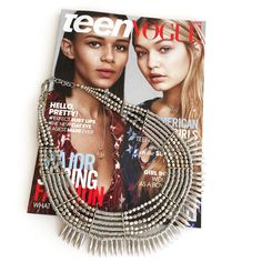 Love seeing Gigi & Binx on the cover of @teenvogue . We couldn't help but bring out our Gigi Spike Bib Necklace today. http://bit.ly/1E0ex4L