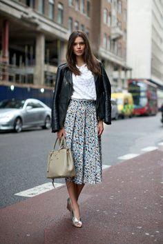 Leather jacket + textured top + midi skirt