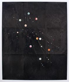 Dirk Stewen(German, b.1972)-  Untitled, 2008. Ink, confetti and cotton on photo paper, steel pins, 183 x 152.5 cm