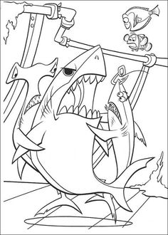 Three Sharks Coloring Page From Finding Nemo Category Select 30257 Printable Crafts Of Cartoons Nature Animals Bible And Many More