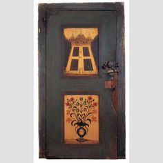 """DOOR FROM CORNELIUS COUWENHOVEN HOUSE/ Daniel Hendrickson (1723–1788), Pleasant Valley, New Jersey, mid-eighteenth century, paint on yellow pine and white oak, with wrought iron hinges, lock, and hardware, 78 5/8 × 44 1/4 × 4"""" (with door frame), collection American Folk Art Museum,gift of Ralph Esmerian, 2005.8.18."""