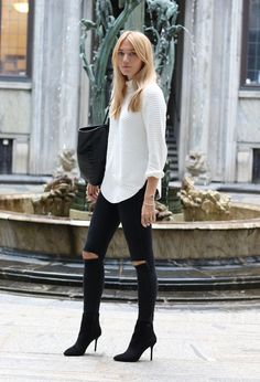 white knit n ripped back jeans