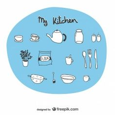 Kitchen utensils sketchy drawings