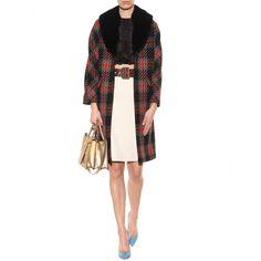 Miu Miu - mytheresa.com exclusive plaid tweed coat with mink collar - mytheresa.com, $5930, 100% virgin wool, lining silk