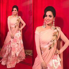 Shradha At Zee Cine Awards designer lehenga choli, party wear lehenga choli Indian Wedding Gowns, Indian Gowns Dresses, Indian Fashion Dresses, Dress Indian Style, Indian Designer Outfits, Indian Outfits, Wedding Dresses, Lehenga Choli, Lehnga Dress