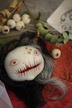 Frozen autumn brooch creepy witch halloween by IrinaSTextileheart