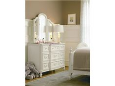 Shop Traditional Style Rosalie Girls 4 Drawers Dresser in white on sale. Featuring Hidden jewelry storage and Hidden storage 8 Drawer Dresser, Wood Dresser, Wood Drawers, Dresser With Mirror, Dresser As Nightstand, Baby Furniture, Painted Furniture, French Furniture, Furniture Outlet