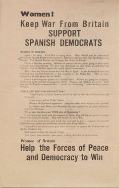 Women! Keep War from Britain: support Spanish Democrats