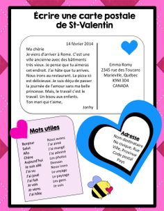 sending a French post card on Valentine's Day? French Teaching Resources, Teaching French, Teaching Tips, How To Speak French, Learn French, High School French, Learning A Second Language, French Education, French Expressions