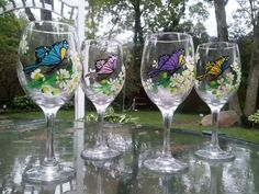 Hand painted Butterfly Wine Glasses  Set of 4 by debilynnes, $55.00