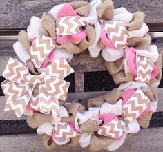 Burlap Wreath Pink Natural Cream Chevron by YellowBirdieBoutique, $41.00