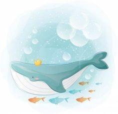 La ballena azul y los pequeños amigos Vector Premium Cute Animal Drawings, Cute Drawings, Geometric Background, Yellow Background, Vector Background, Cute Images, Painting For Kids, Cute Illustration, Belle Photo