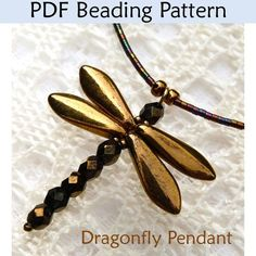 Beaded Dragonfly Pendant PDF Beading Pattern |