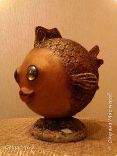 Поделка изделие Папье-маше Золотая рыбка  Бумага фото 3