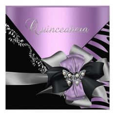 Quinceanera 15 Zebra Lilac Purple Black Silver Personalized Announcements