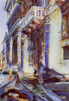 """On the Grand Canal"", watercolor by John Singer Sargent American painter. John Singer Sargent, Sargent Art, Beaux Arts Paris, Art Watercolor, Art For Art Sake, Beautiful Paintings, Oeuvre D'art, Art And Architecture, Love Art"