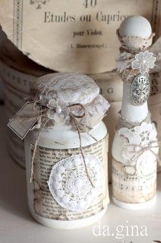Shabby chic ♦ Vintage - Flaschen- Set - Deko ♦ von da.gina vintage auf DaWanda.com