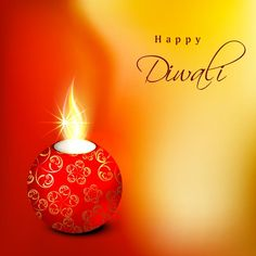 Vector Beautiful vintage swirl glowing diya on abstract red and orange background Happy Diwaly logo greeting card and wallpaper design templ...