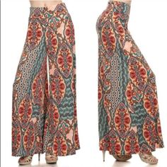 The DARCY paisley wide leg palazzo pants HP 3/29Super fun & vibrant. Please allow for some slight color variation. The deep orange part is actually more neon but it was hard to capture the exact shade. ‼️NO TRADE‼️ Pants Wide Leg
