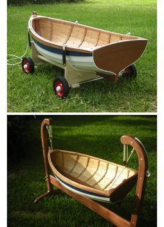 Beautiful little Boat to use as a cradle then can be turned into a wagon.  Posted from Paisley St. Clair blog site.