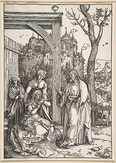 Life of the Virgin: Christ Taking Leave of His Mother: 1504-1505 by Albrecht Dürer - woodcut (Cleveland Museum of Art, Cleveland, Ohio) Viewed as part of the Exhibition: Dürer's Women: Images of Devotion & Desire (August, 2014)