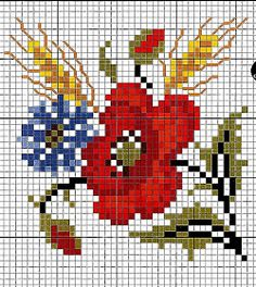 Embroidery, works and blueprints puntocroce free: Great collection of poppies cross stitch