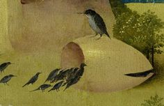 Detail from The Garden Of Earthly Delights, Hieronymus Bosch, 1490 - 1510 Pieter Bruegel The Elder, Garden Of Earthly Delights, Hieronymus Bosch, Renaissance Paintings, Dutch Painters, Unusual Art, Illuminated Manuscript, Fantasy Art, Yellow