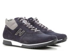 Hogan men's sneakers shoes in blue suede leather - Italian Boutique €208