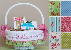 Personalized Easter Basket Liner GIRL fits Pottery Barn Sabrina baskets, by tadacreations on Etsy