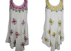 Mogul Interior - Mogul 2PC Women's White Beach Sundress Floral Embroidered Loose Flare Sleeveless Flowy Tank Dress Cover up S/M - Walmart.com