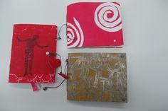 Resultaat van een cursist workshop Gelliplate en 3 x cahier binding in Atelier Velijn.