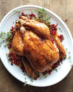 Reduce pomegranate juice until it's thick and syrupy to create a burnished glaze for roast chicken, and decorate with ruby-red pomegranate seeds and thyme sprigs for serving.