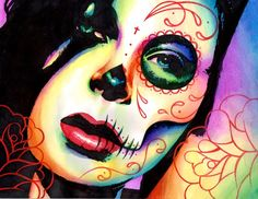 """Dead Inside,"" gorgeous sugar skull art print by artist Carissa Rose Stevens (misscarissarose, deviantART; NeverDieArt, Etsy; Carissa Rose Art, Facebook)...."