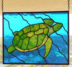 Green Sea Turtle Stained Glass Panel by ReflectionsOfGlass on Etsy, $190.00 -11 x 14
