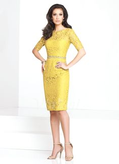 Mother of the Bride Dresses - $139.82 - Sheath/Column Scoop Neck Knee-Length Charmeuse Lace Mother of the Bride Dress With Beading (0085058741)