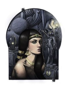 """Cleopatra"" ball point pen and ink illustration colored digitally in Photoshop CC 8.5""x 11"" by artist M. Scott Hammond. It's an example of his retro futuristic pieces. It's influenced by diesel-punk deco-punk and film noir. Check out his Website: www.mscotthammond.com Diesel Punk, Retro Futuristic, Ink Illustrations, Cleopatra, Sci Fi, Photoshop, Wonder Woman, Fantasy, Superhero"