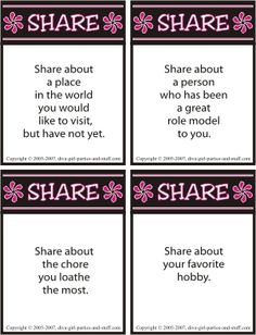 Women bond and build relationships when they share conversation  Use this sharing icebreaker as a Pinterest