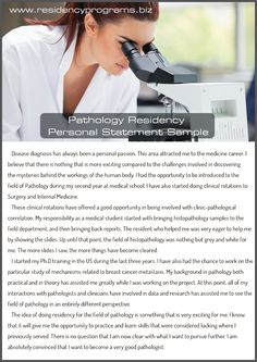Only here and only today you can write a perfect pathology residency personal statement. Our professionals work exactly for you! Residency Programs, Med School, Unique, Medical, Medical School