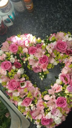 My work, pink open heart. Funeral heart My work, pink open heart. Flower Wreath Funeral, Funeral Flowers, Funeral Floral Arrangements, Easter Flower Arrangements, Casket Flowers, Funeral Sprays, Flowers For Mom, Grave Decorations, Memorial Flowers