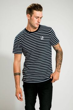 MEN'S NAVY/WHITE STRIPPED TEE White Strips, Navy And White, Mens Tops, T Shirt, Clothes, Fashion, Supreme T Shirt, Outfits, Moda
