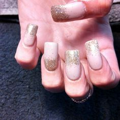 Nude shellac and gold sparkle