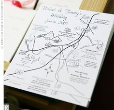 A hand drawn map is a fun and creative way to incorporate small town charm into a big city/formal wedding