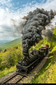 Steamscape: Cass Hill. The spring vegetation is definitely in full bloom as a Cass Work Train hammers uphill toward Old Spruce with Shay #4 on the point. This locomotive is a 70-ton Lima Shay, built in 1922 for the Birch Valley Lumber Company in Tioga, WV as their #5. In 1943, she was acquired by the Mower Lumber Company and moved to Cass Hill, where she's been ever since. She was one of the original set of locomotives that was used to start the Cass Scenic Railroad. As a 70-tonner, she's…