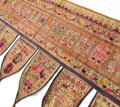 Antique Cross stitch Folk Art Textile Wall Hanging 32