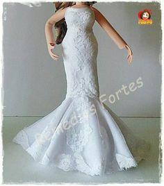 Vestido de novia en goma eva. Fofucha de boda.
