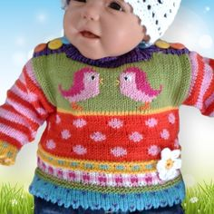 Der Neuen :A sugar sweet baby sweater with great patterns. With that the baby is still sweet . Knitting For Kids, Baby Knitting, Crochet Baby, Knit Crochet, Baby Pullover, Baby Cardigan, Baby Patterns, Knitting Patterns Free, Baby Born Clothes