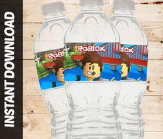 Instant Download Roblox Printable Gamer Block Pixels DIY Birthday Decorations DIY Party Water Bottle Labels