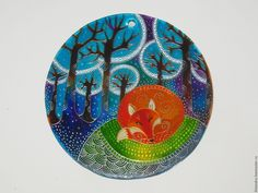 Купить Лисичкины сны Ловец солнца Роспись по стеклу - эксклюзивный подарок, точечная роспись
