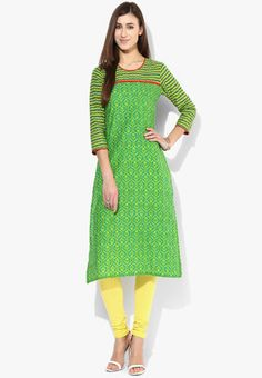 3/4Th Sleeves Kurta With Printed Sleeves Surprise your friends with your gorgeous ethnic avatar this weekend wearing this beautiful green kurta from Sangria. Made from soft cotton fabric for all-day lightweight comfort, this printed kurta is best flaunted with dark-tone leggings and flats. http://jbo.ng/nvGPmZ0