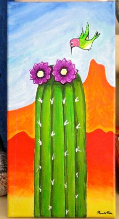 "Hummingbird Cactus Folk Art Brightly Colored Original Painting 7"" x 14""  SOLD"